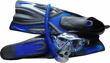 BLUE Typhoon GLIDE Fins Flipper & Snorkel SET Scuba Diving Adult 5- 6-5 EU 38/39