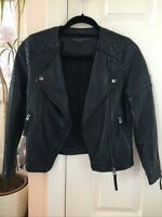Topshop Black Soft Leather Style Jacket Size Petite 4 Hardly Worn Excellent Cond