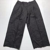 Lafayette 148 Dark Brown Wool Cashmere Blend Wide Leg Dress CROP Pants SZ 6 A526