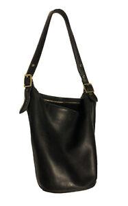 Coach Vintage Duffle Sac Black Leather Shoulder Bucket Bag 9085- Has Wear