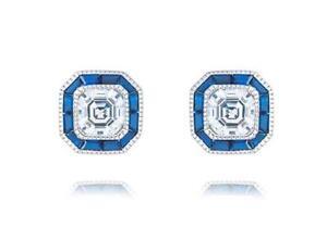Platinum Sterling Silver Blue & White Sapphire Halo Design Cushion Stud Earrings