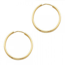 Plain Endless Hoop Earrings 3/4 Inch. 14K Solid Yellow Italian Gold 1.5mm x 20MM