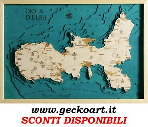 Isola d'Elba Island Mappa Cartina 3D Quadro Moderno Map Chart www.geckoart.it