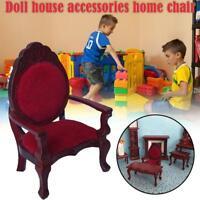 1PC Retro Mini Dollhouse Furniture Carved Chair Miniature Kids Pretend Play Toy
