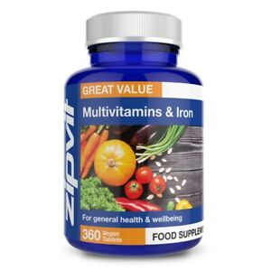 Multivitamins & Iron - Pack of 360 Vegan Tablets, One A Day for Men & Women, ...
