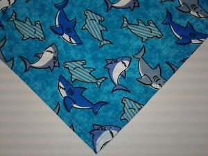 Buster Brown Dog Bandanas, Blue, Sharks, Beach, Custom Made By Linda, xS,S,M,L
