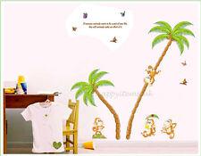 Jungle Monkey Tree Wall Stickers Monkey Palm Tree Wall Decals Bedroom Nursery