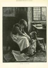 1891 - Antique Print FINE ART Bad news Fannie Moody Woman Dogs Papers  (178)
