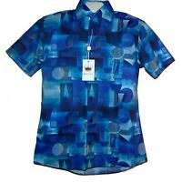 Bertigo Blue Geometric Cotton Stylish Men's Shirt Sz XL/5 NEW $180