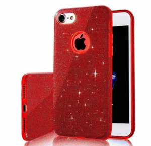 Red Bling Glitter Hybrid Rubber Hard Protective Case Cover For iPhone 8 Plus