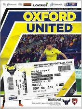 Football Programme plus Match Ticket>OXFORD UNITED v MORECAMBE Sept 2015