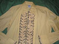 Vintage Mustard Gold Brown Al's Formal Wear Ruffled Front Tuxedo Shirt sz M