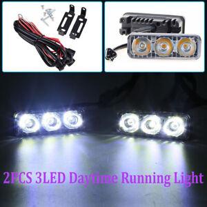 2x Super Bright LED Daylight Running Light Daytime Driving Light DRL 3LED White