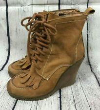 SOPHYA Womens' Tan Suede Wedge Tassel Ankle Boots Size 38