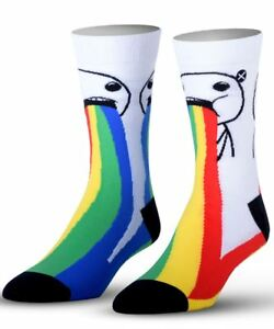 OddSox Mens Crew Knit Socks ~  Puking Rainbow