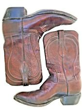 Vintage Lucchese 2883ZZ Brown Burgundy Leather Tooled Tall Cowboy Boots 11.5 D