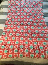 "Vintage Handmade Crochet Afgan Lap Throw Floral/Pom Pom Pattern  60"" x 78"""