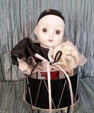 1988 San Francisco Vintage Black & White Porcelain Clown in drum music box