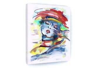 Abstract Colourful Woman Model Canvas Picture Print Wall Art B877