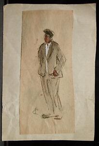 Painting Original Watercolour Paul Roofers - Portrait Man - Towards 1930 - PC167