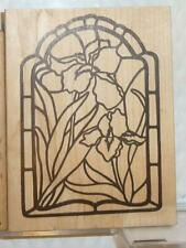 The Cottage Stamper Stained Glass Irises Used Wood Mounted Stamp