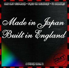 Made in Japan Built in England Motorcycle / Car Decal Bumper Sticker -17 Colours