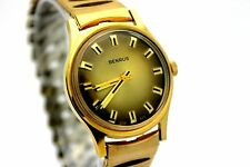 *NOS* Vintage BENRUS Manual Wind Gold Tone Smokey Dial Men's Dress Watch CLEAN