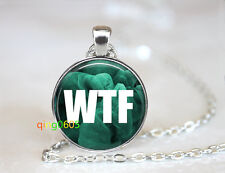 WTF Geek Nerd glass dome Tibet silver Chain Pendant Necklace wholesale