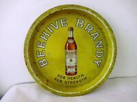 """Beehive Brandy For Health For Strength Vintage Advertising Tin Tray France """"F"""