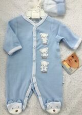NWT VITAMINS $24 PREEMIE Boys Footed 2 piece Baby Sleeper Footies PJ + hat, NEW