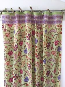 Anokhi Green Multi-Color Floral Cotton Curtain Panels