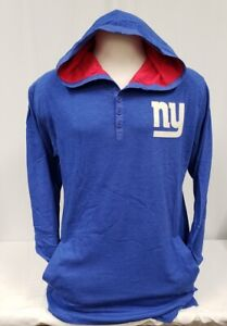 Brand New Men's Mitchell and Ness NFL NY Giants 3 Button Up Hooded Sweat Shirt