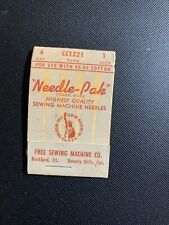 Vintage Usa Free Sewing Machine Co. Lot 4 Needles - Needle-Pak - Cc1221 Size 1