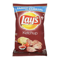 2 Bags! Canadian Lays Ketchup Potato Chips Family Size (255g)