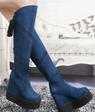 Womens Suede Hidden Wedge Platform Knee High Riding Boots Round Toe Shoes F504