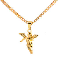 Alloy Angel Pendant Necklace Pure Gold Chain Hip-hop Necklace Jewelry For Men