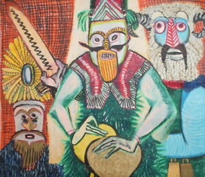 VINTAGE PASTEL PAINTING TRADITIONAL DANCERS MUMMERS