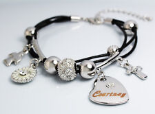 Courtney nome Bracciale Cuore Ciondolo 18K Oro Placcato Swarovski Elements in pelle