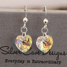 Sterling Silver Drop Earrings With Swarovski Element Crystal Love Heart Clear AB