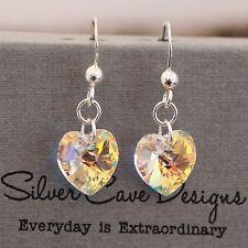 Sterling Silber Tropfen Ohrringe Mit Swarovski Elemente  Kristall Liebe Herz