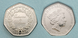 NEW Catherine & William 50p coin Gibraltar 2021 kate and william 10th Wedding