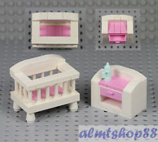 LEGO - Crib & Changing Table w/ Bottle - Nursery Bed Baby Girl Minifigure Town