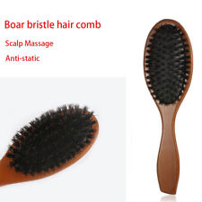 Massage Hairbrush Natural Boar Bristle Oval Anti-static Comb Hair Styling Tool