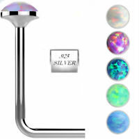 925 Sterling Silver Opal L Bend Nose Stud Ring 1.5MM 2MM 2.5MM 22G