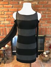 Bailey 44 Black Gray Striped M Fitted Body Hug Cold Shoulder Bodycon Mini Dress