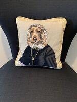 Vintage Needlepoint Royal Dog Animal Decorative Pillow  Velvet Backing 11x10