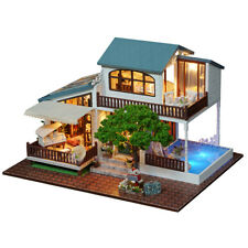 DIY Doll House Toy Wooden Miniature Furniture LED Light Gift Toys London Holiday