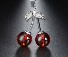 925 Sterling Silver Natural AAA Red Agate Cherry Pendant Necklace