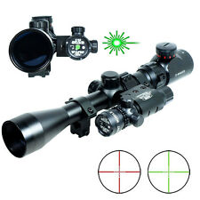 3-9x40 Hunting Rifle Scope Mil-Dot illuminated Snipe Scope & Green Laser Sight