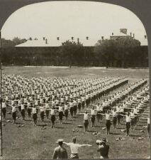 Ready to Do Their Duty. Callisthenics in the American Army. WW1 Stereoview